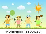 children with nature | Shutterstock .eps vector #55604269