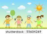 children with nature   Shutterstock .eps vector #55604269