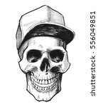 smiling skull in cap | Shutterstock . vector #556049851