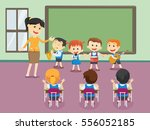 young teacher with children... | Shutterstock .eps vector #556052185