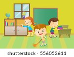 illustration of kids cleaning... | Shutterstock . vector #556052611