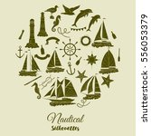 nautical background with ships... | Shutterstock .eps vector #556053379