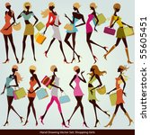 fashion shopping girls... | Shutterstock .eps vector #55605451
