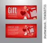 red gift voucher for valentine... | Shutterstock .eps vector #556063711