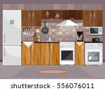 kitchen interior with furniture ... | Shutterstock .eps vector #556076011