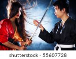 Young japanese couple fighting. Contrast colors. - stock photo