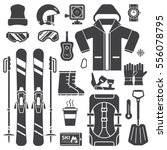 mountain skiing gear and... | Shutterstock .eps vector #556078795