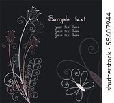 abstract floral with butterfly... | Shutterstock .eps vector #55607944
