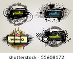 4 placard with banner in dark... | Shutterstock .eps vector #55608172