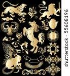 set  golden heraldic elements | Shutterstock .eps vector #55608196