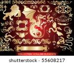 set  golden heraldic elements | Shutterstock .eps vector #55608217