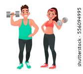 fitness couple. man and woman... | Shutterstock .eps vector #556094995