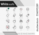 white stuffs vector icons set... | Shutterstock .eps vector #556095289