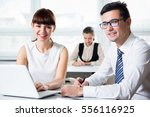 business people working with... | Shutterstock . vector #556116925