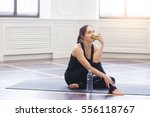 yoga woman drinking water and... | Shutterstock . vector #556118767