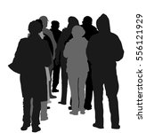 group of people waiting in line ... | Shutterstock .eps vector #556121929
