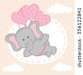 elephant is flying on balloons  ... | Shutterstock .eps vector #556122841