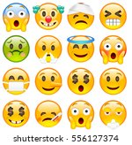 set of cute emoticons. sixteen... | Shutterstock .eps vector #556127374