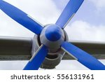 Small photo of airplane propeller on the wing