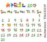 cute april 2017 calendar for...   Shutterstock .eps vector #556132219