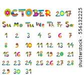 cute october 2017 calendar for...   Shutterstock .eps vector #556132225