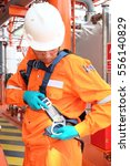 worker at offshore with safety... | Shutterstock . vector #556140829