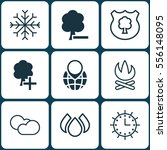 set of 9 eco friendly icons.... | Shutterstock . vector #556148095