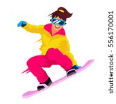 cool girl riding a snowboard.... | Shutterstock .eps vector #556170001