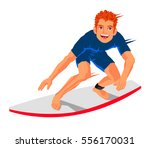 young surfer standing on the... | Shutterstock .eps vector #556170031