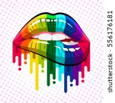 open mouth with rainbow color... | Shutterstock .eps vector #556176181
