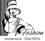 black and white fashion woman... | Shutterstock .eps vector #556178701