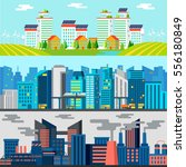 colorful cityscape horizontal... | Shutterstock .eps vector #556180849