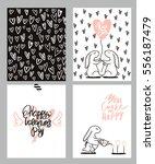 Romantic Cards Set. Four...