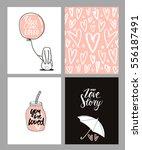 romantic cards set. four... | Shutterstock .eps vector #556187491