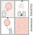 romantic cards set. four... | Shutterstock .eps vector #556187521