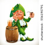 leprechaun and beer. feast of... | Shutterstock .eps vector #556190791