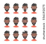 set of male emoji characters.... | Shutterstock .eps vector #556192075