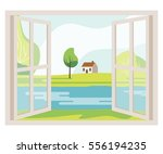 open window with a landscape... | Shutterstock . vector #556194235