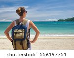 happy young traveler with a... | Shutterstock . vector #556197751