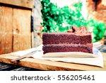 Sliced Tasty Chocolate Cake On...