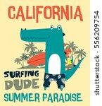surfing dude crocodile design.t ... | Shutterstock .eps vector #556209754