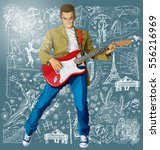 love concept. vector punk man... | Shutterstock .eps vector #556216969