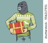 monkey vector concept.... | Shutterstock .eps vector #556217551