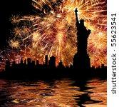 Silhouette Statue Of Liberty O...