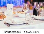 glasses  flower fork  knife...   Shutterstock . vector #556236571
