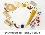 flat lay. fettuccine and... | Shutterstock . vector #556241575