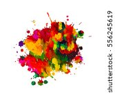 colorful rainbow paint stains... | Shutterstock .eps vector #556245619