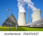 solar panels  wind turbines and ... | Shutterstock . vector #556251427