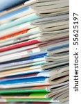 Pile of fresh magazines - stock photo