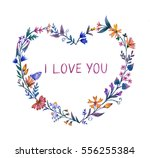 greeting card with watercolor ... | Shutterstock . vector #556255384
